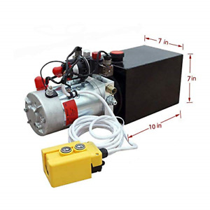 8 Quart Dc 12v Hydraulic Pump Power Supply Unit Pack Double Acting Dump Trailer