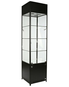 Retail Jewelry Merchandise Display Glass Showcase Lighted Tower Assembled New