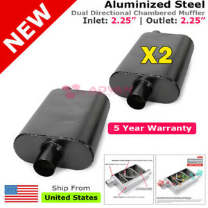High Flow Chambered Muffler 2 25 Inch Offset In Center Out Black Pair Set 231895