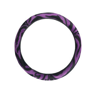 Purple And Black Zebra Stripes Car Steering Wheel Cover Car Suv Sedan