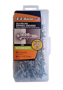 E z Ancor Kit 50 Zinc Self Drilling Drywall Anchors With 50 Phillip Screws 8 X
