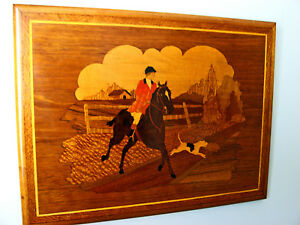 Rare Fox Hunt Vintage Marquetry Wood Inlay Plaque Rider Horse Hounds
