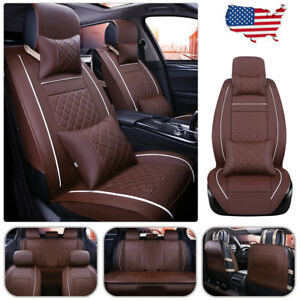 Us Seat Cover Pu Leather 5 seats Front rear Cushion W pillows Set Coffee Size L