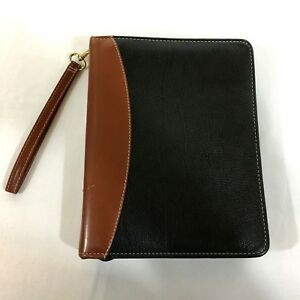 Franklin Covey Black Brown Two Toned Pebbled Verona Leather 7 Ring Zip Binder
