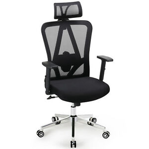 High Back Executive Office Chair With Neck And Lumbar Support Mesh Headrest Arms
