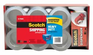 Scotch Heavy duty Shipping Pking Tape With Dispenser 1 88 X 54 6 Yd 12 pk