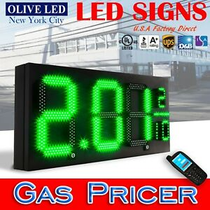 Olive Led Sign Gas Pricer Green Letter Size 12 16 20 24 Selection