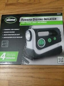 Slime Rugged Digital Tire Inflator Compressor Led Light Powerful Compact