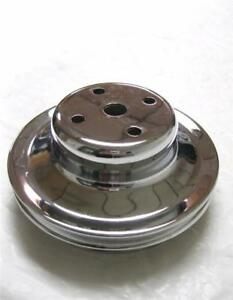 1969 Up Big Block Chevy Lwp Chrome 2 Double Groove Water Pump Pulley Bbc 396 454