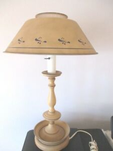 Large Antique Painted Tan Navy Blue Tole Metal Reading Library Table Lamp