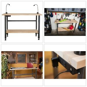 Workbench Table Wood Top Steel Frame Powder Coated Heavy Duty Rust Resistant