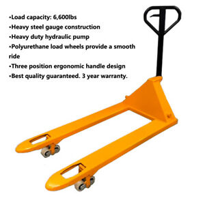 Pallet Jack Heavy Duty Hand Truck 6600lb 3 year Warranty Local Pick Up Only