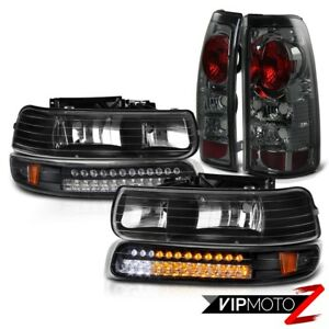 1999 2002 Chevy Silverado 1500 Smoke Foglight Black Led Bumper Signal Headlights