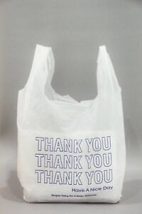 Thank You Blue T shirt Bags 11 5 X 6 X 21 White Plastic Shopping Bag 1000