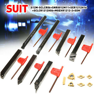 7 Set Dcmt Ccmt Carbide Insert 12mm Lathe Turning Tool Holder Boring Bar Kit