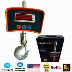 1000lbs Digital Crane Scale Heavy Duty Industrial Hanging Weight Measure 500kg