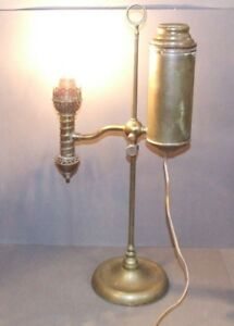 Antique Electrified Brass Student Lamp