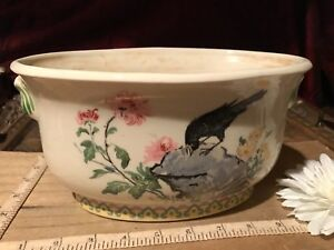 Asian Porcelain Oval Planter Famille Rose Design Floral Black Bird 9 X5 1 2