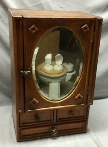 Antique Country Lodge Wood Medicine Cabinet Cupboard Oval Mirror Drawers 100 19c