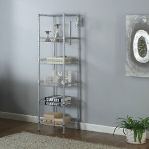 Heavy Duty 6 Tier 63x14x14 Wire Shelving Rack Adjustable Shelf Storage Gray