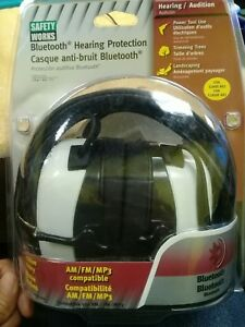 Safety Works Ear Muffs Bluetooth Hearing Protection With Am fm Radio