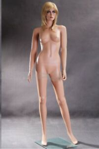 Full Female Nude Mannequin 5 10 Pretty Face Makeup Tan Skin Bald Standing Pose