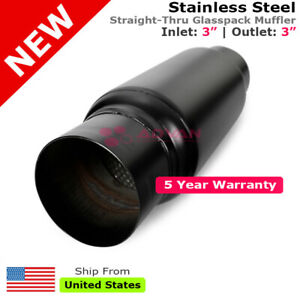 3 Inches In Out Muffler Stainless Steel Black Straight Thru Glasspack 232826