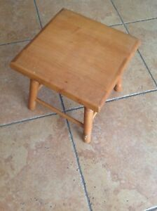 Vintage Wood Milking Stool Bench 4 Leg Chair Rustic Country