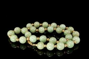 Antique Chinese Green Green Jade 10 Mm Beads 14k Gold Clasp Necklace D60 07