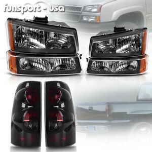 For 2003 2006 Chevy Silverado 1500 2500 Black Headlights Smoke Tail Lights Set