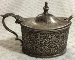 English Silverplate Mustard Pot W Cobalt Glass Insert And Spoon