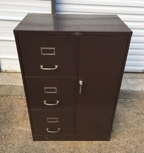 Vtg Art Asco Steelmaster Letter File Cabinet W Key Furniture Office Storage Mcm