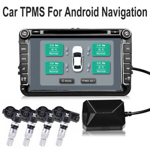 Car Tpms Tire Pressure Monitor Alarm System 4 Internal Sensor For Android Ma1907