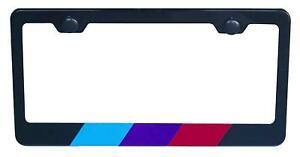 Two Pack M Stipe License Plate Frame For Bmw Black High Grade 304 Steel