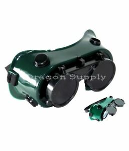 New Cutting Welding Grinding Safety Goggles Glasses Flip Up Dark Green Lenses