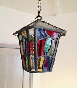 Lovely Leaded Stained Glass Lantern Lamp Shade Ceiling Light Chandelier Vintage
