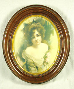 Antique Deep Oval Walnut Gold Gesso Picture Frame With Vintage Print