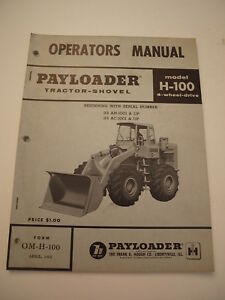Ih International Hough H 100 Front end Wheel Pay Loader Tractor Operators Manual