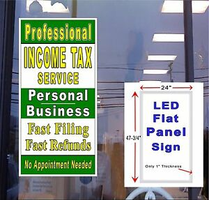 Income Tax Service Personal And Business Led Flat Panel Light Box Sign 48x24