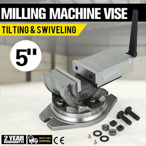 2 Way 5 Tilting Swiveling Milling Vise Cnc 24kn 125mm Width Clamping Vise