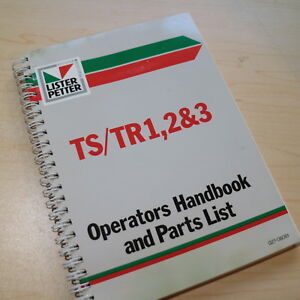 Lister Petter Ts tr1 2 3 Diesel Engine Owner Operator Maintenance Parts Manual