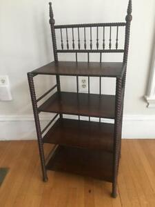 Antique Dark Wood Table Book Case Shelf Etagere Night Stand Ornate Victorian