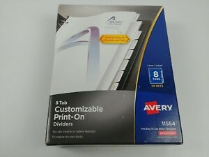 Avery Print on Dividers White 8 Tabs 25 Sets 11554 New
