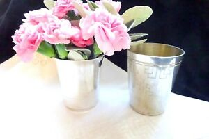 2 Antique Silver Wine Cups Timbale Water Vase French Art Deco Vintage Ba