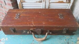 Old Antique Wooden Tool Box Carpenter Wood Chest Vtg Primitive Rustic Original