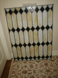 Vintage Custom Stained Glass Window Panel W Diamond Pattern 36 X 48 Excellent