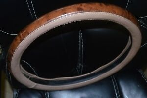 For Jaguar S Type Or 15 Inch Beige Wood Leather Steering Wheel Cover Used