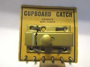 Vintage Nos Satin Brass Cupboard Cabinet Door Catch Thumb Latch Spring Knob