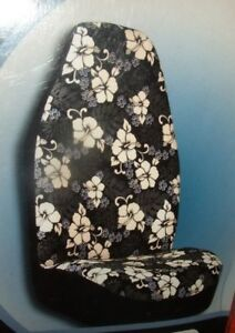 New Axius Hawaiian Blue White Black Hibiscus Flower Front Bucket Seat Cover