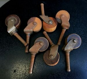 Vintage Small Wood Wheel Casters Industrial Office Furniture Hardware Salvage